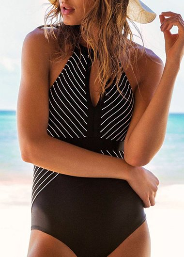 Keyhole Neckline striped Printed One Piece Swimwear - fashionyanclothes