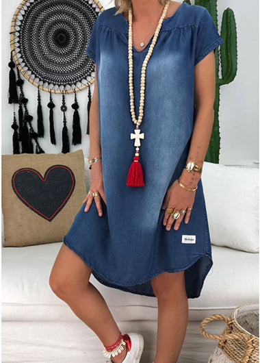 Short Sleeve V Neck Stripe Denim Dress