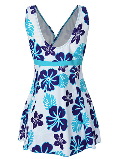 Flower Print Wide Strap Swimdwear - fashionyanclothes