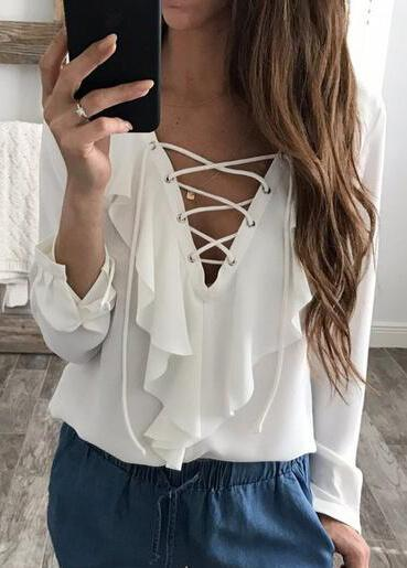 Sexy Lace Up V Neck Ruffles T Shirt