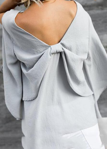 Bow Tie V Neck Chiffon Top - fashionyanclothes