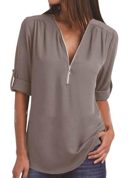 Summer Chiffon  V-neck Solid Zipper Tops - esshe