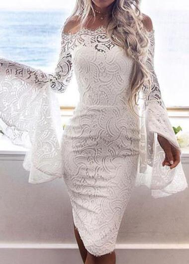 White Lace Flare Sleeve Dress.