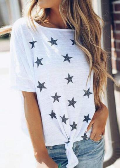 Short Sleeve Star Printed Top
