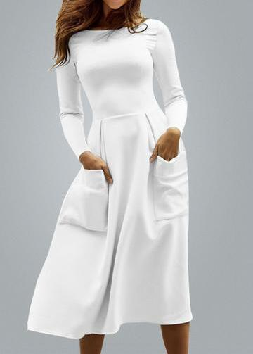 White Sexy Midi  Office Pleated Dress