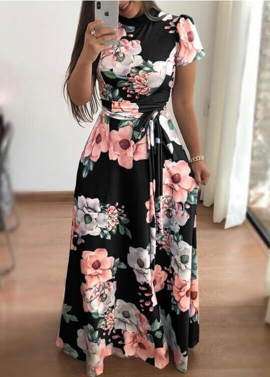 Casual Flower Printed  Dress - fashionyanclothes