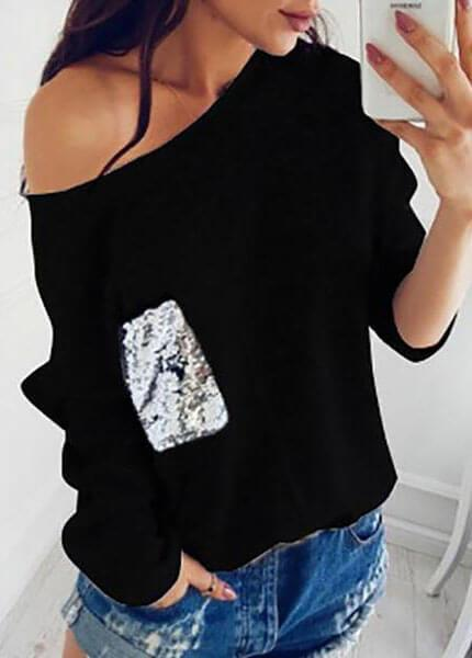 Knit Slash Neck Sequined Pullover - fashionyanclothes