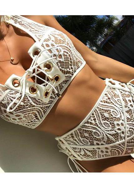 Lace High Waist Swimsuit - fashionyanclothes