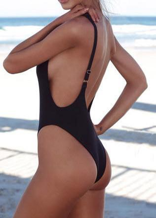 Thong Black Backless  Monokini - esshe