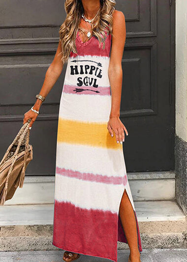 Letter Printed Sleeveless V Neck  Loose Dress