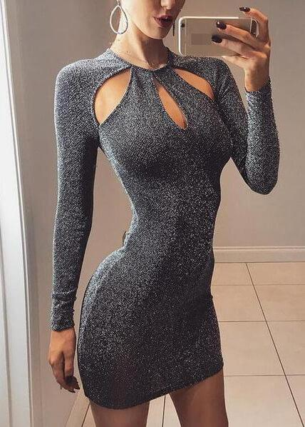 Sexy Black Sparkly Hollow Out Dress - fashionyanclothes