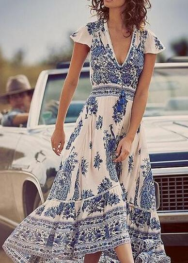 Boho Floral Print Summer Beach Dress - fashionyanclothes