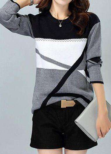Geometric Pattern Dark Grey Sweater - fashionyanclothes