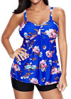Flower Print Black Tankini Top and Shorts - fashionyanclothes