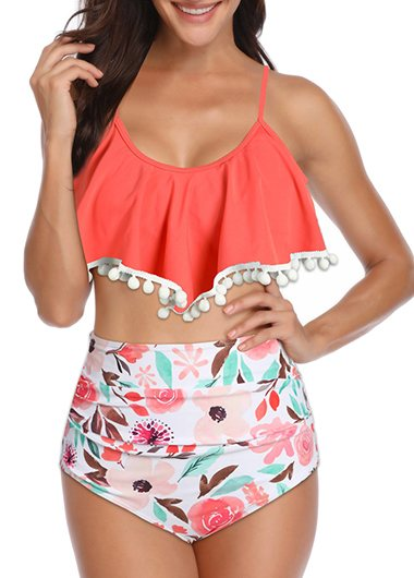 Ruffle High Waisted Bikini Set - fashionyanclothes