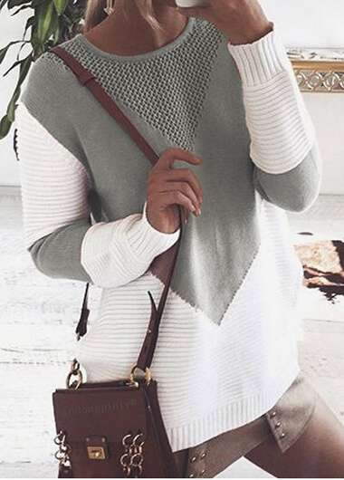 Long Sleeve Geometric Pattern Round Neck Sweater - fashionyanclothes