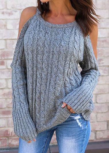 Gray Cold Shoulder sweater - fashionyanclothes