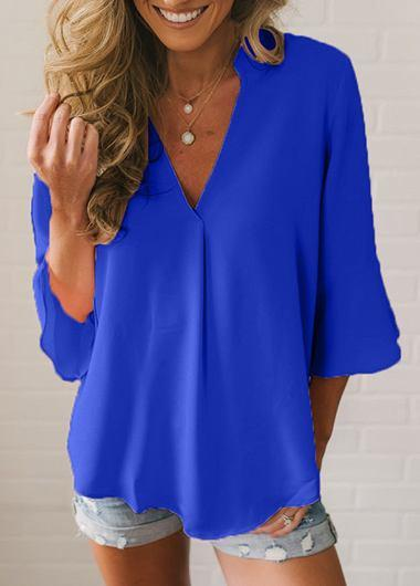 V Neck Flare Sleeve Chiffon Blouse - fashionyanclothes