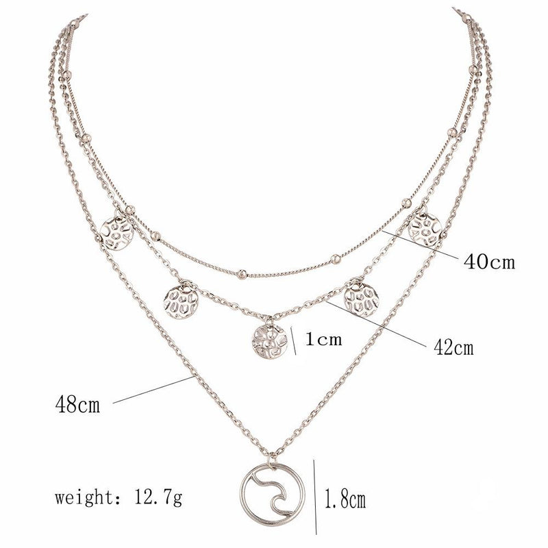 Triple Chain Metal Strip Necklace