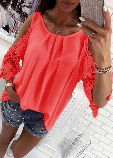 Sling Sleeve Hollowed-out T-shirt - fashionyanclothes