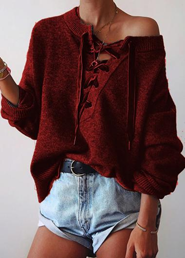 Lace Up Front Long Sleeve Sweater - fashionyanclothes