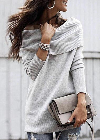 Long Sleeve Cowl Neck Sweater - esshe