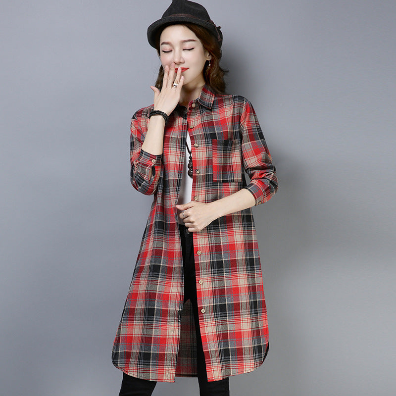 Loose Checked Cotton Shirt