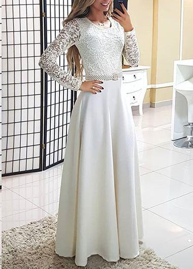 Round collar lace long sleeve dress