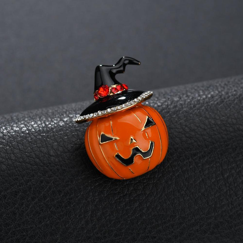 Orange Pumpkin Lantern Design Brooch for Halloween - fashionyanclothes