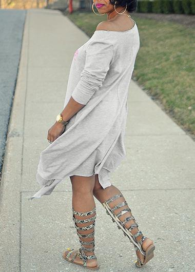 Sloping shoulders and lips print loose dress