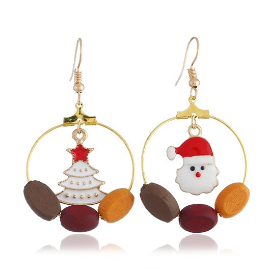 Santa and Christmas Tree Pendant Gold Metal Earrings - fashionyanclothes