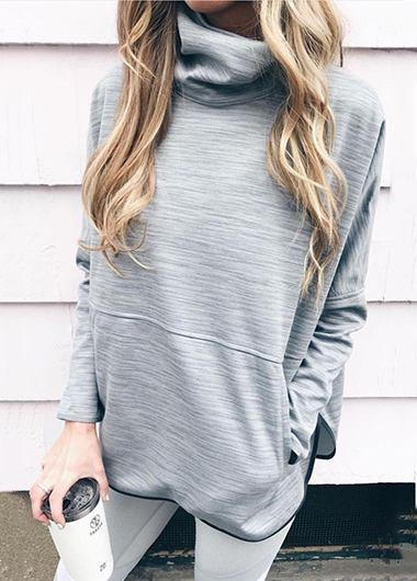 Turtleneck Gray Long Sleeve Hoodie - fashionyanclothes
