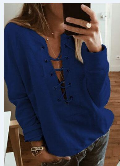 Lace Up Front Long Sleeve Sweatshirt - fashionyanclothes