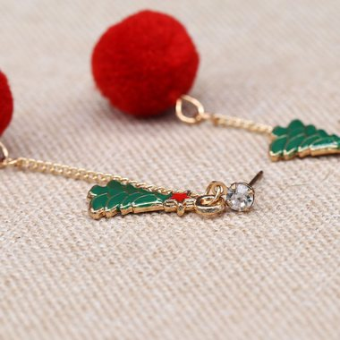 Christmas Tree Embellished Hair Ball Pendant Earrings - fashionyanclothes