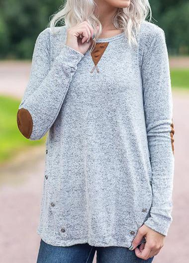 Patchwork Long Sleeve Button Embellished T Shirt - fashionyanclothes