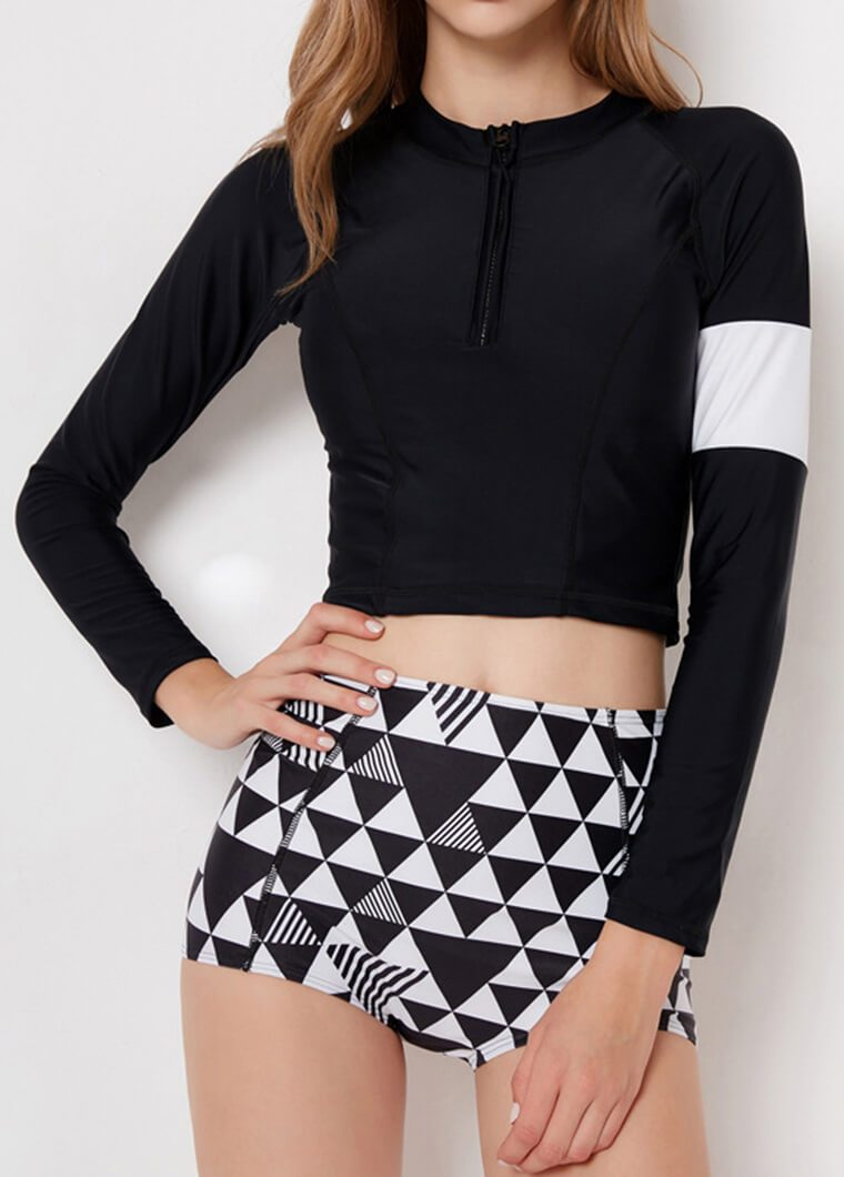 Geometrical Printed Two Pieces Wetsuit - fashionyanclothes