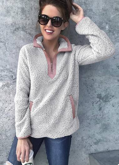 Turndown Collar Long Sleeve Sweatshirt