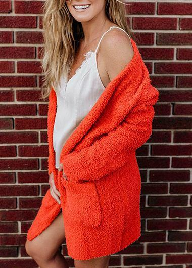 Long Sleeve Pocket Fluffy Coat - fashionyanclothes