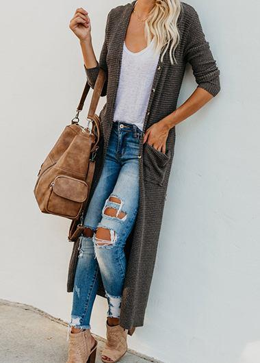 Button big pocket casual long cardigan - fashionyanclothes