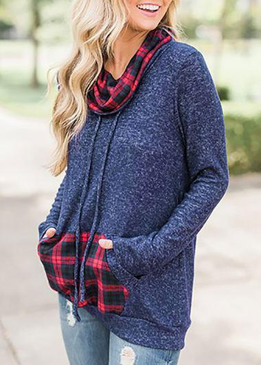 Kangaroo Pocket Cowl Neck Sweatshirt - fashionyanclothes