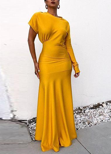 Yellow One Shoulder Mermaid Dress - fashionyanclothes