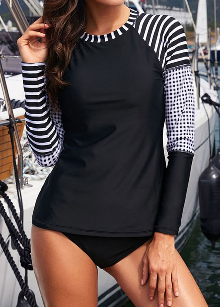 Striped Printed Long Sleeve Wetsuit - fashionyanclothes