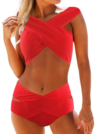 Red High Waist Bikini Bra and Panty