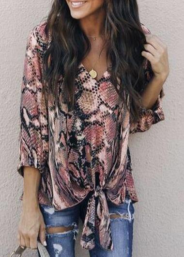 Snake Print lace-up t-shirt