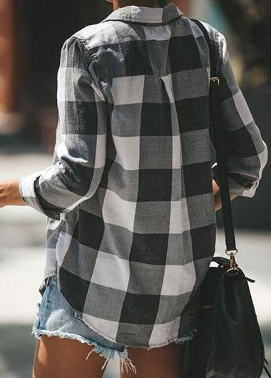 Plaid Print Button Up Blouse - fashionyanclothes