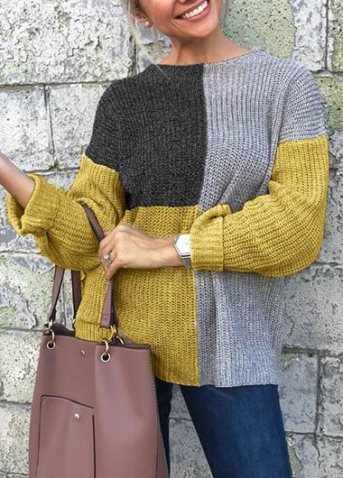 Loose Patchwork Knitted Sweater