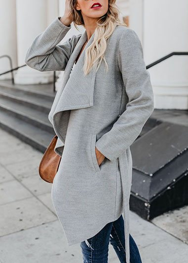 The Drape Grey Coat Long Sleeved
