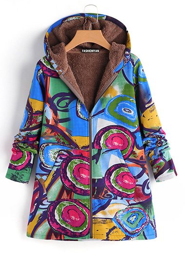 Hoodie Pockets Floral Casual Plus Size Coats - fashionyanclothes