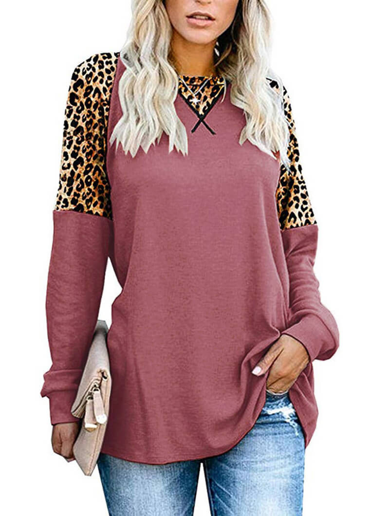 Long Sleeve Leopard Print Patchwork Top