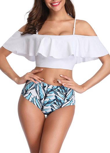 Off Shoulder Ruffle High Waisted Bikini